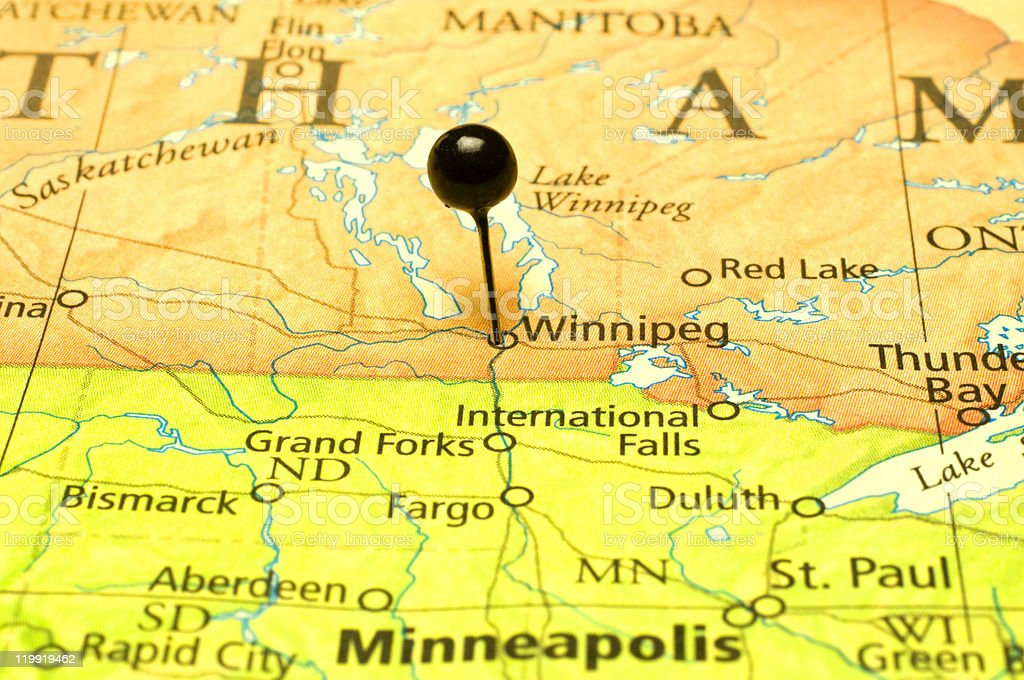 Map Of United States And Canadian Border At Minnisota Stock Photo - Us-canada-border-states-map