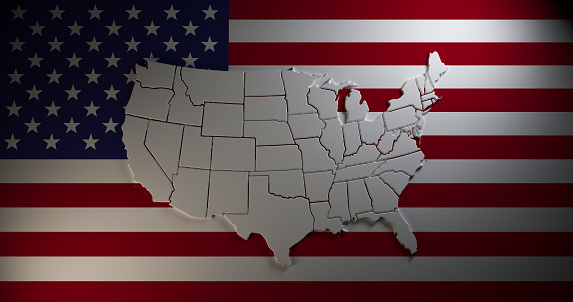 istock Map of United States of America on national flag background. 3d illustration 1128222520