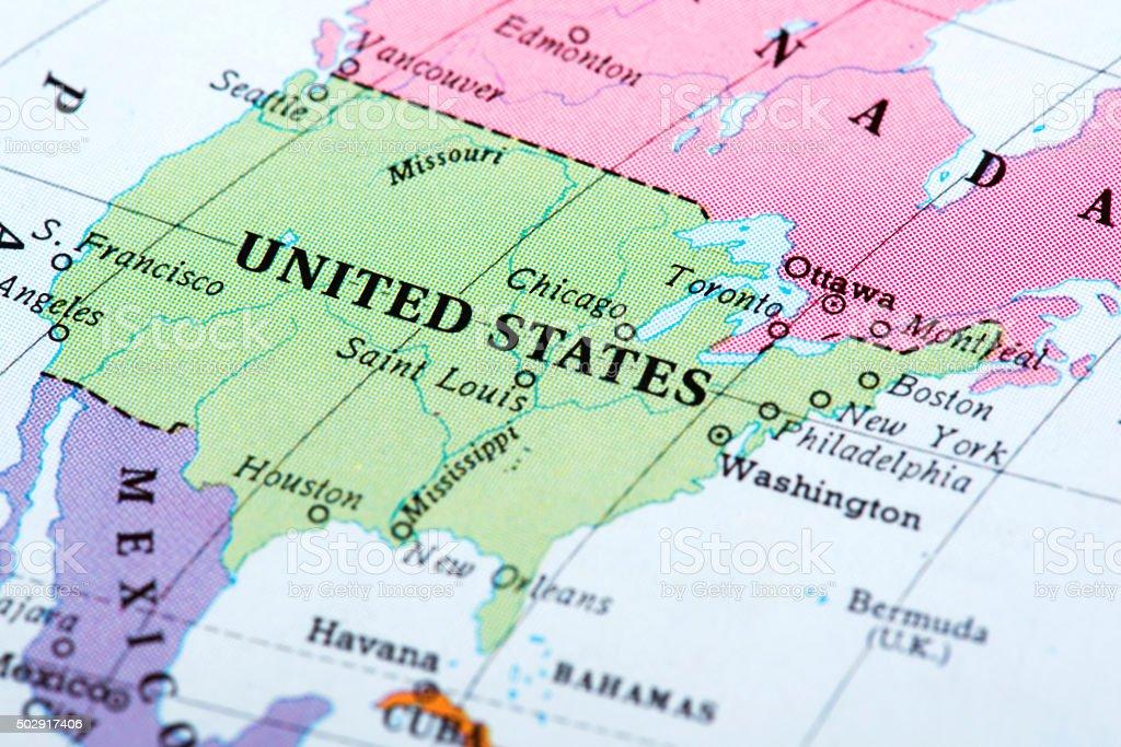 Map of United States stock photo