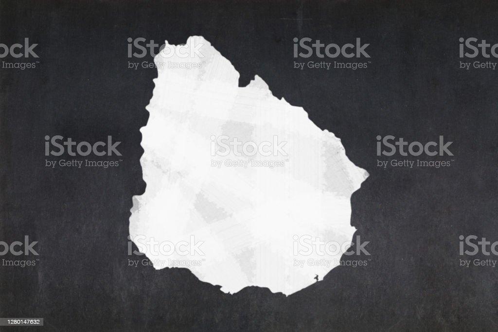 Map of Uruguay drawn on a blackboard Blackboard with a the map of Uruguay drawn in the middle. Backgrounds Stock Photo