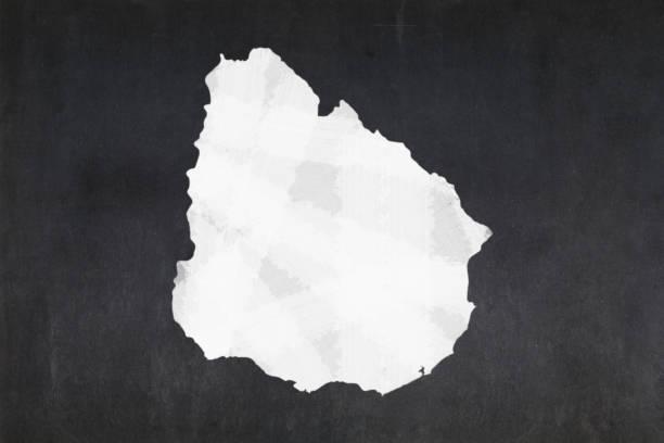 Map of Uruguay drawn on a blackboard stock photo