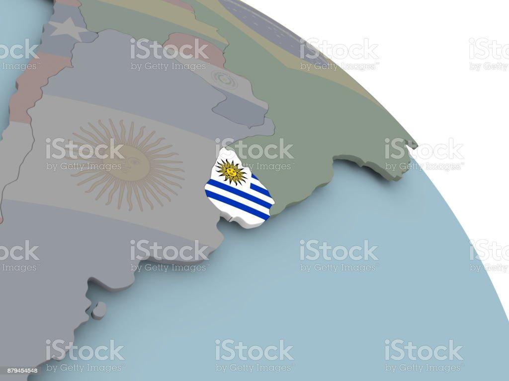 Mapa con bandera de Uruguay - foto de stock