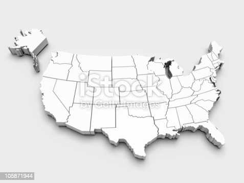 520945644 istock photo Map of USA. 3d 105871944