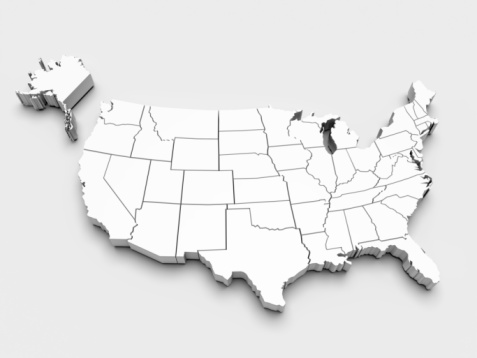 istock Map of USA. 3d 105871944