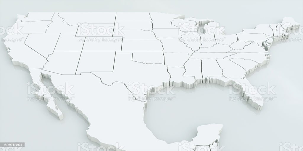 map of usa and mexico highly detailed 3d rendering royalty free stock photo