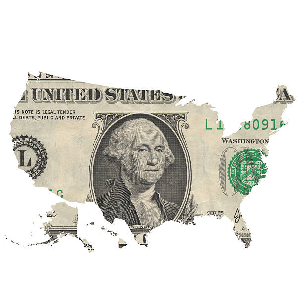 Map of USA covered with one dollar bill Map of the USA cut out of a one dollar banknote. Hawai and Alaska included in the bottom left. Real photo, not a render. Isolated. debt ceiling stock pictures, royalty-free photos & images