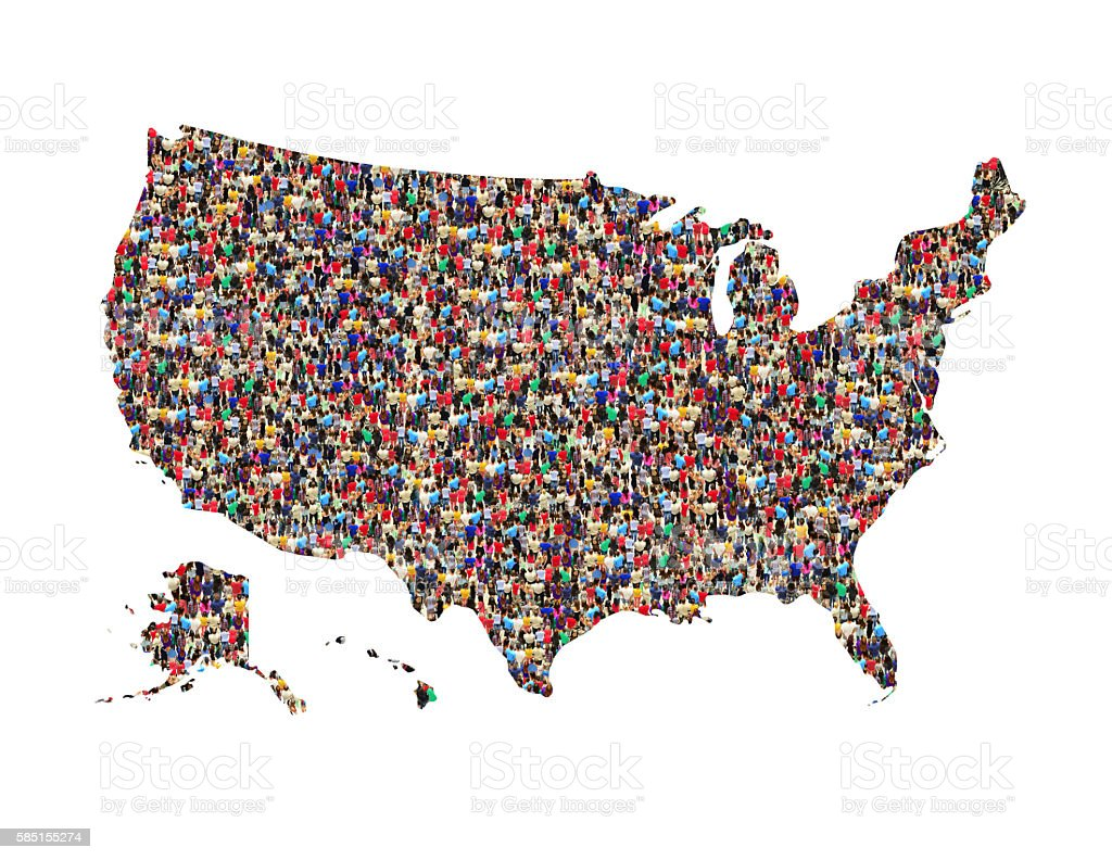 map of USA from crowd of different people isolated stock photo