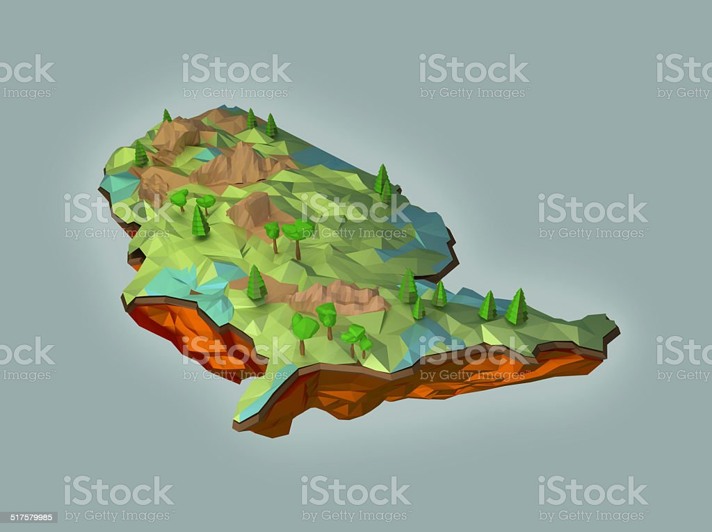 Map of USA in 3D art stock photo