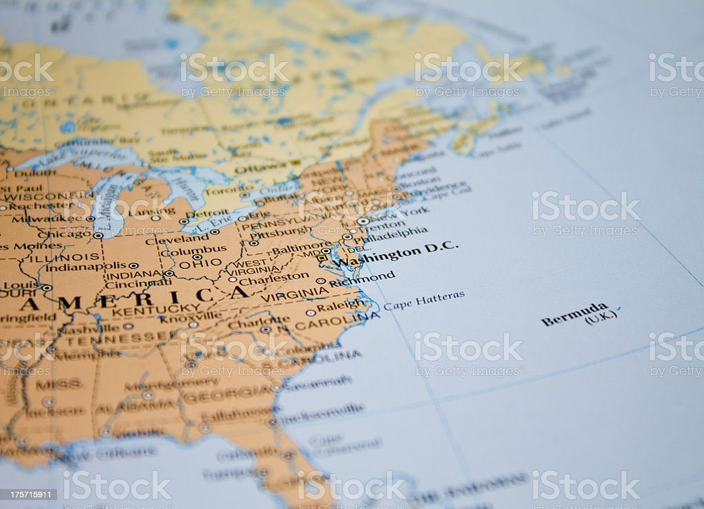 Map of USA in focus stock photo