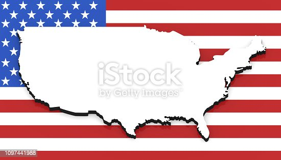 1056103150istockphoto 3D map of USA on the national flag 1097441988