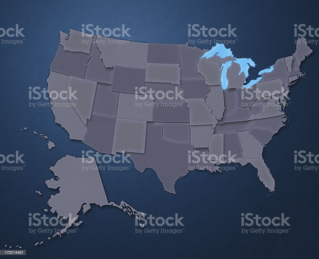 Map of USA (Steel Blue) stock photo