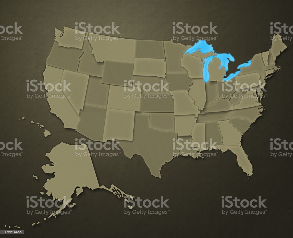 Map of USA (Earthen Tones) - Royalty-free Accuracy Stock Photo
