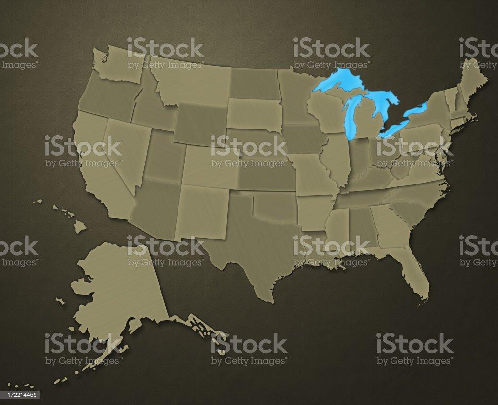 Map of USA (Earthen Tones) stock photo