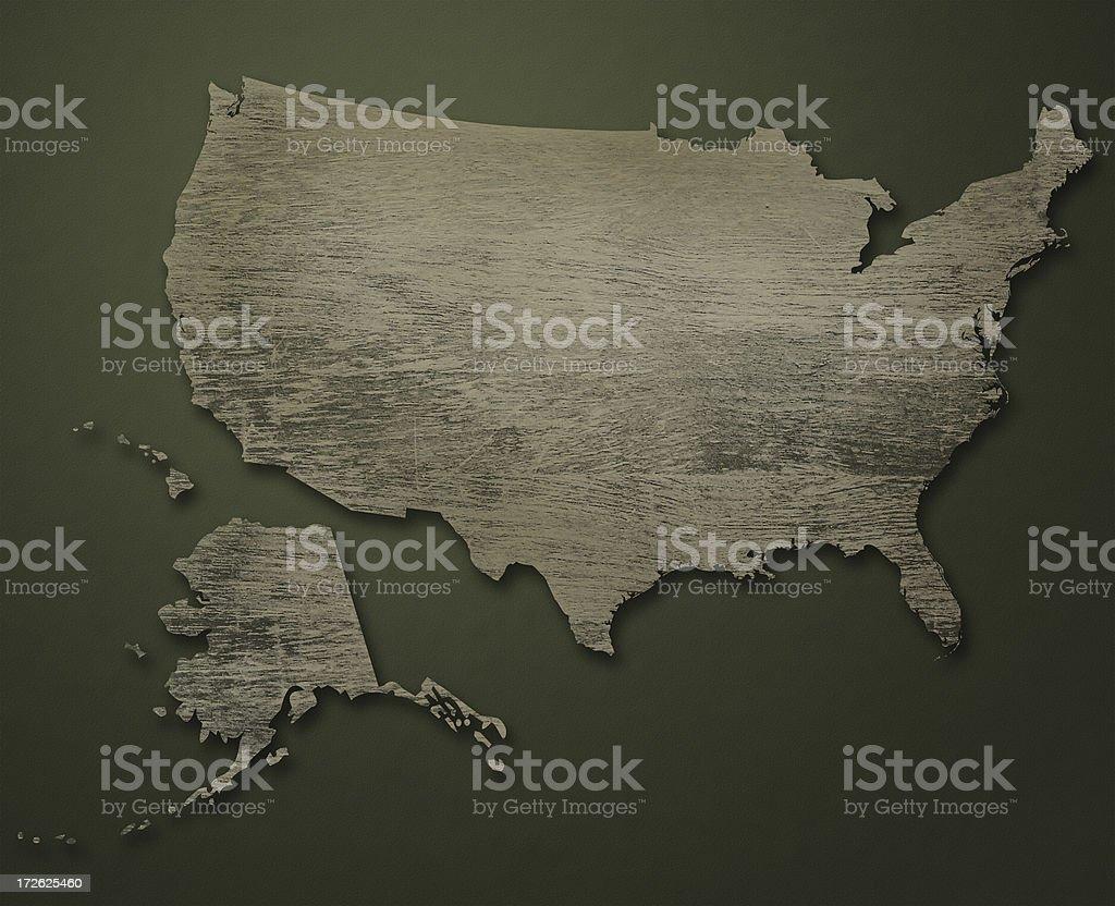 Map of USA (Wood Nostalgia) stock photo