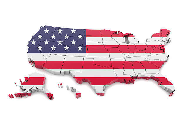 map of usa - alaska us state stock photos and pictures