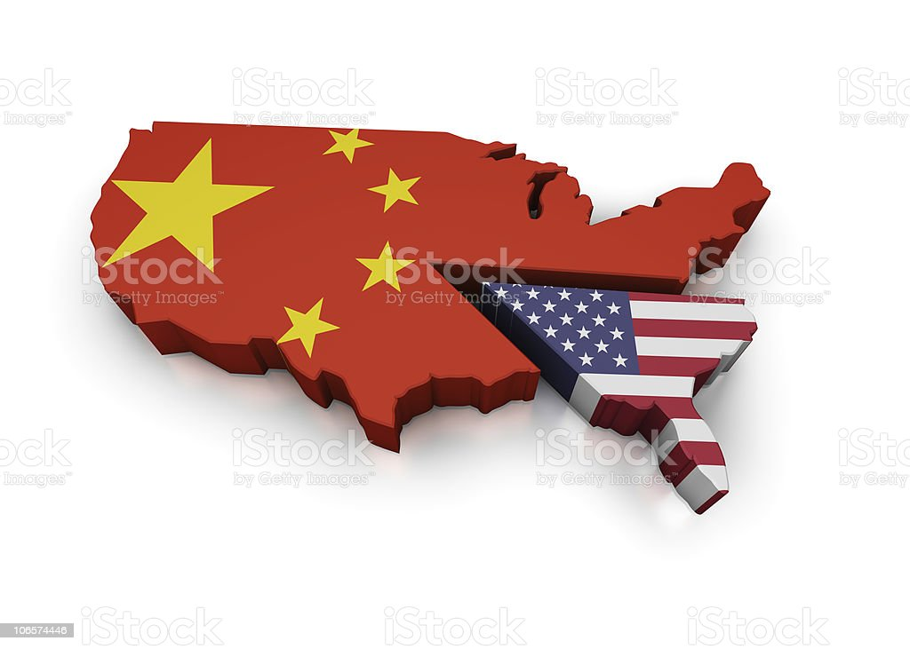 Map of USA pie graph with America and Chinese Pieces stock photo
