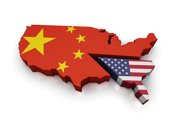 Map of USA pie graph with America and Chinese Pieces  foreign affairs stock pictures, royalty-free photos & images