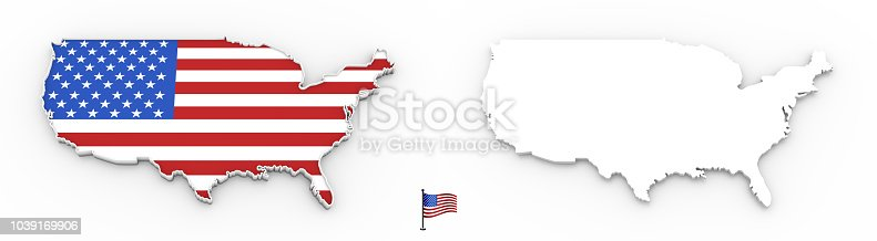 1056103150istockphoto 3D map of USA white silhouette and flag 1039169906