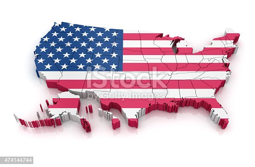 861272646istockphoto Map of USA with flag 474144744