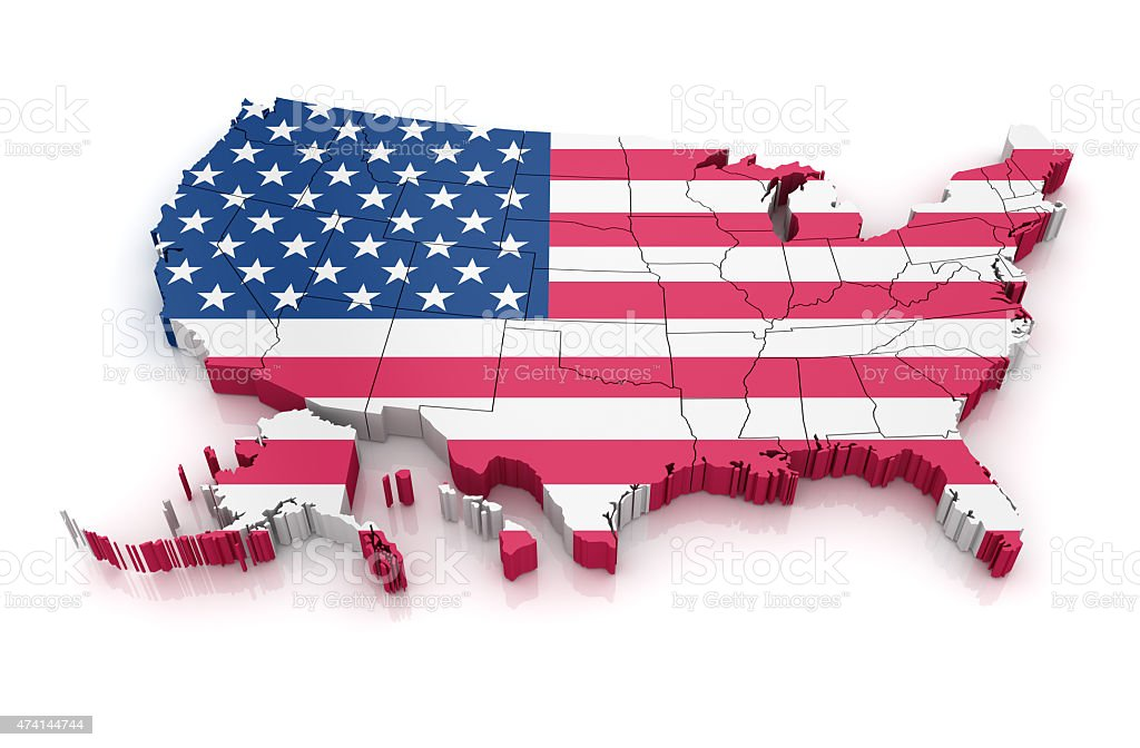 Map of USA with flag stock photo