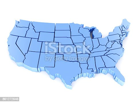 istock 3D Map of USA with states 861272646