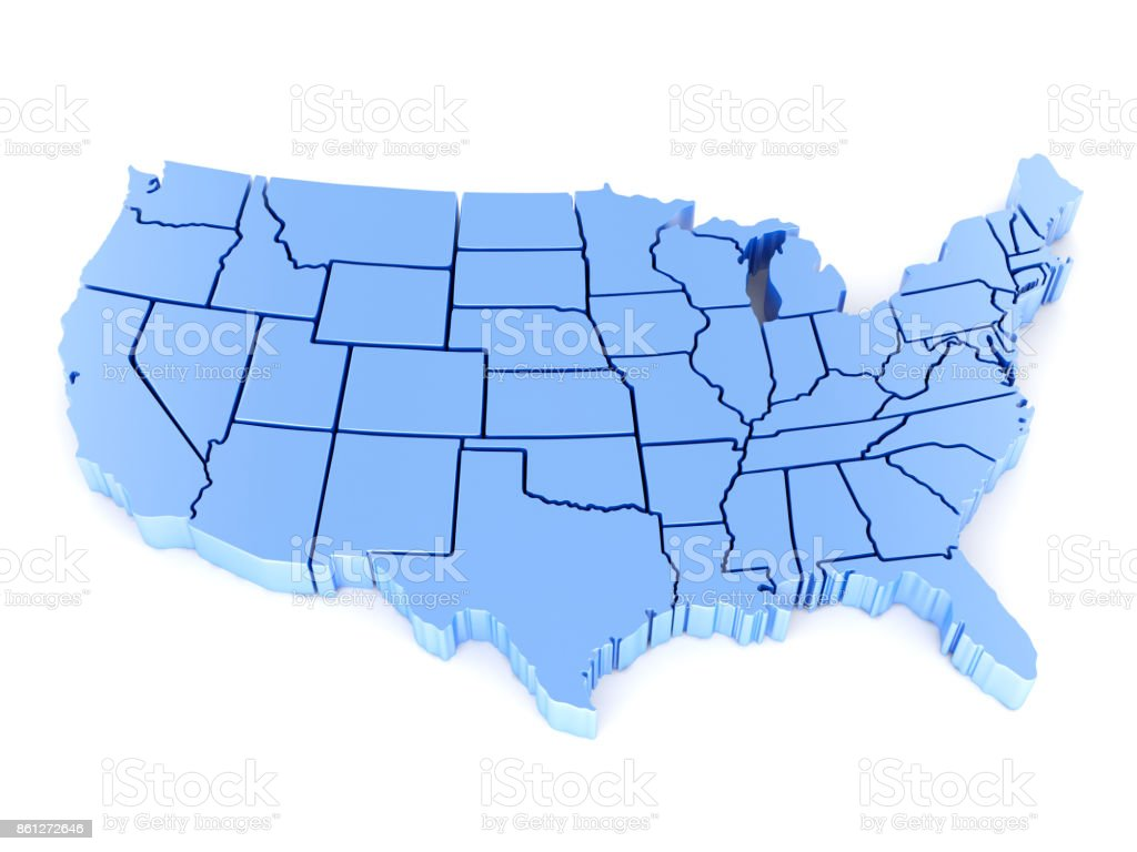 3D Map of USA with states stock photo