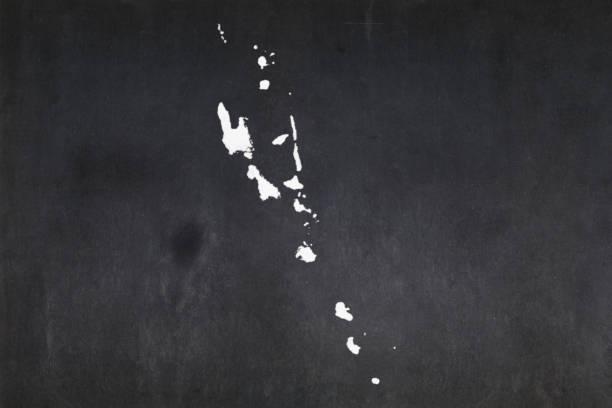 Map of Vanuatu drawn on a blackboard stock photo
