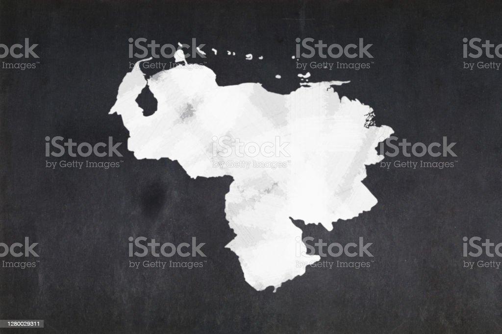 Map of Venezuela drawn on a blackboard Blackboard with a the map of Venezuela drawn in the middle. Backgrounds Stock Photo