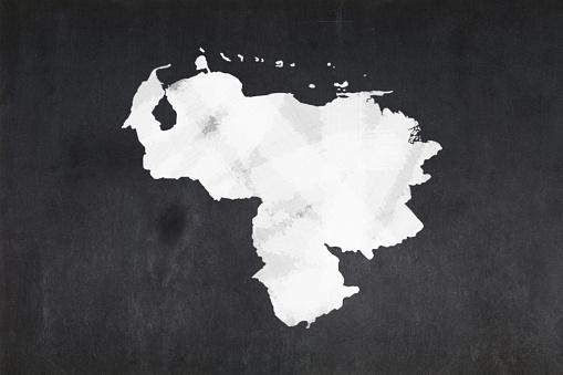 Map Of Venezuela Drawn On A Blackboard Stock Photo - Download Image Now