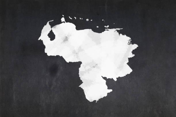 Map of Venezuela drawn on a blackboard stock photo