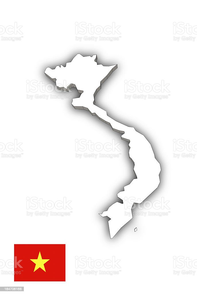 Map of Vietnam white royalty-free stock photo