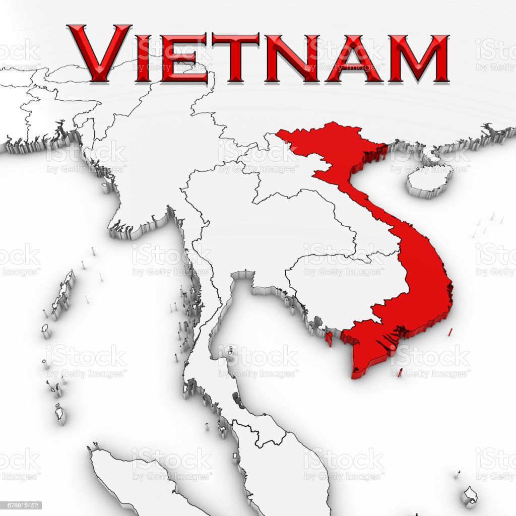 3d map of vietnam with country name highlighted red on white 3d map of vietnam with country name highlighted red on white background 3d illustration royalty gumiabroncs Choice Image