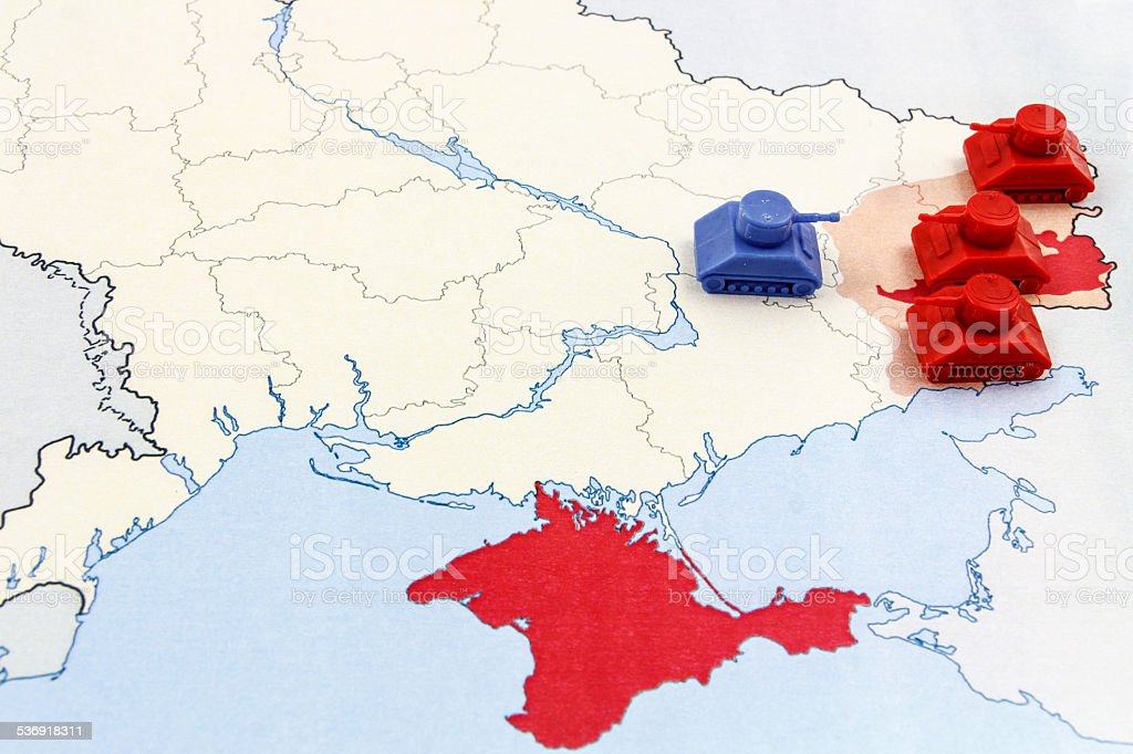 Map of War in Donbass with Russian and Ukraine Tanks stock photo