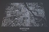 Map of Warsaw satellite view, city, Poland. 3d rendering