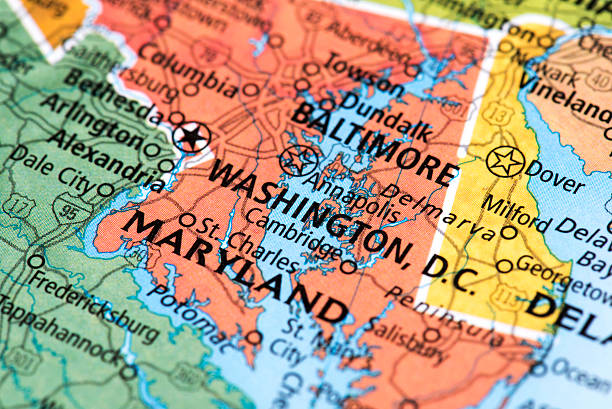 Map of Washington, D.C. in USA Map of Washington, D.C. in USA. Detail from the World Map. maryland us state stock pictures, royalty-free photos & images