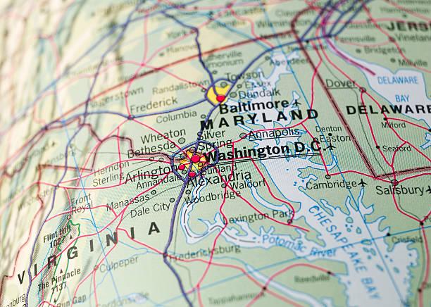 Map of Washington D.C. stock photo