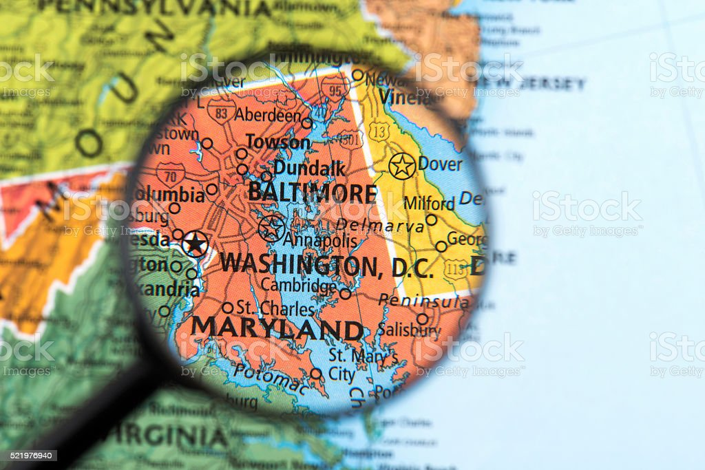 Map of Washington DC stock photo