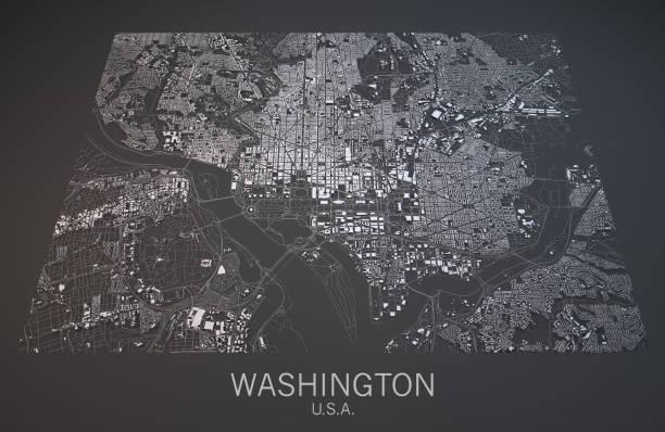 Map of Washington, satellite view, city, Usa stock photo