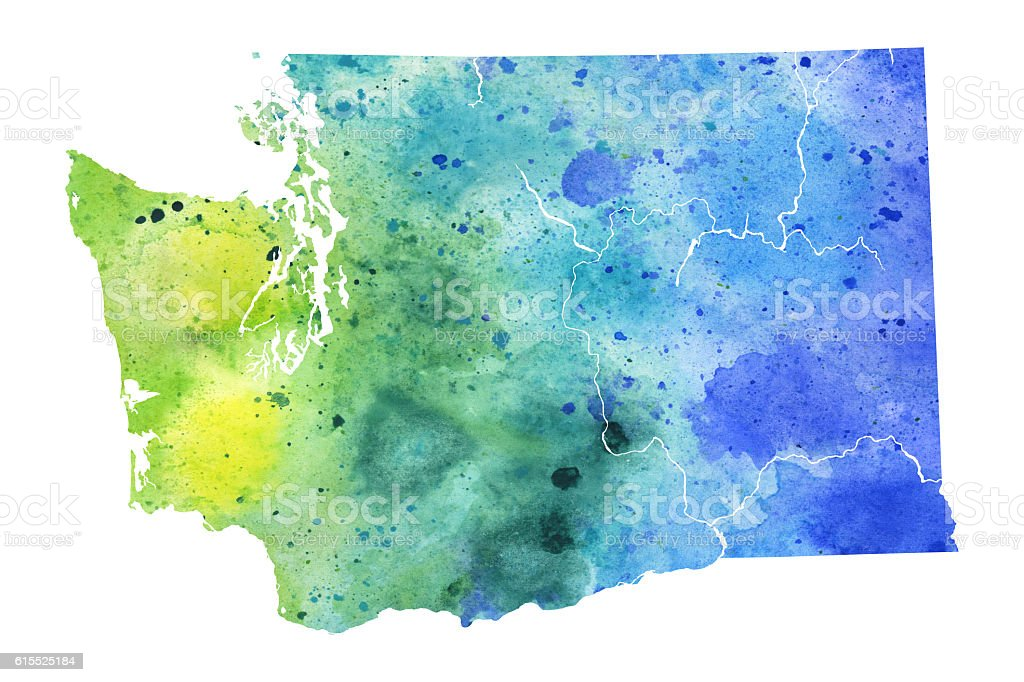 Map of Washington State with Watercolor Texture - Raster Illustration stock photo