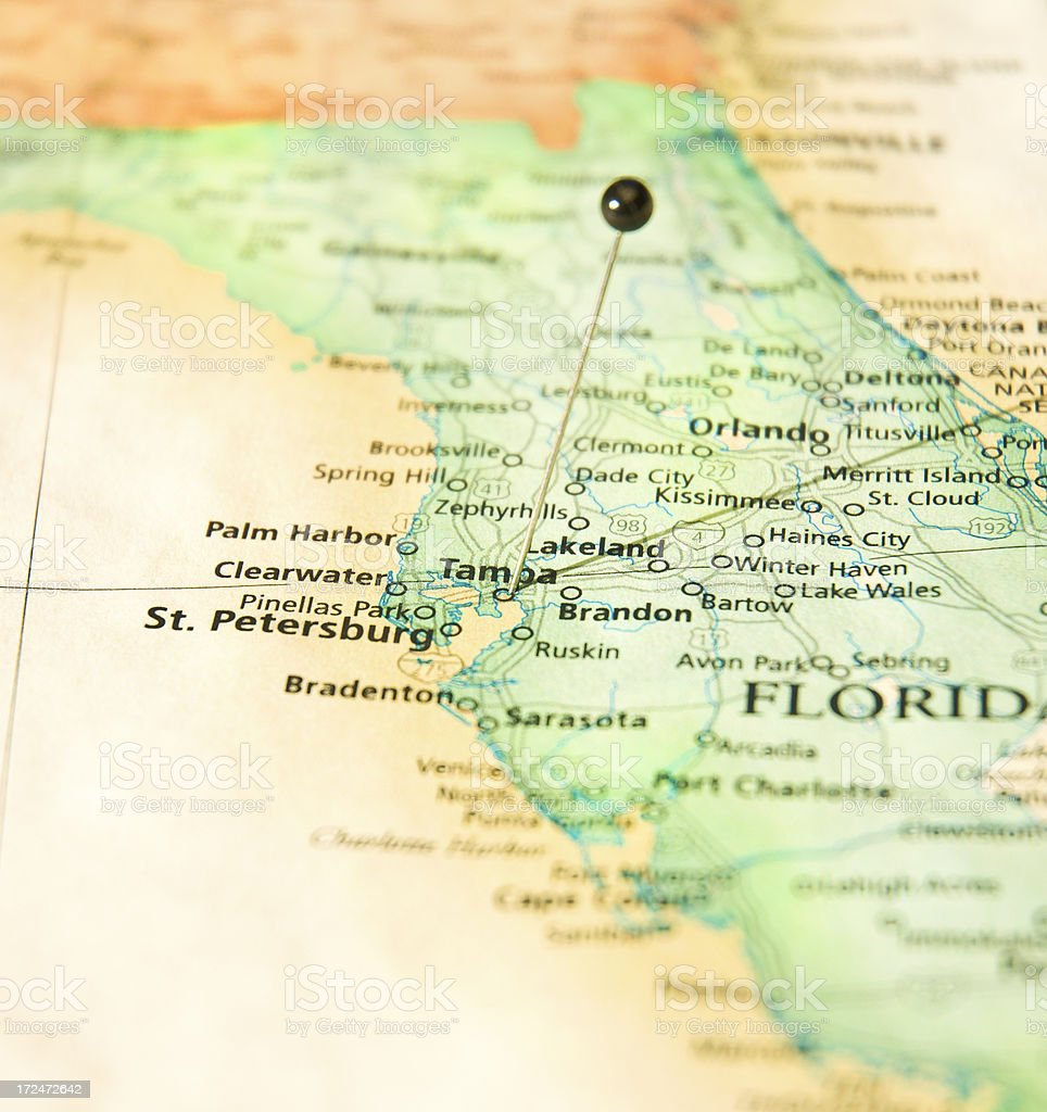 Map Of West Florida Coastline St Petersburg And Tampa Stock ...