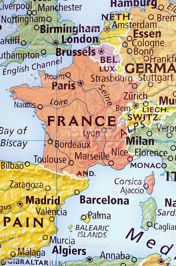 Map Of Western France.Map Of Western Europe Centered Around France Stock Photo Download