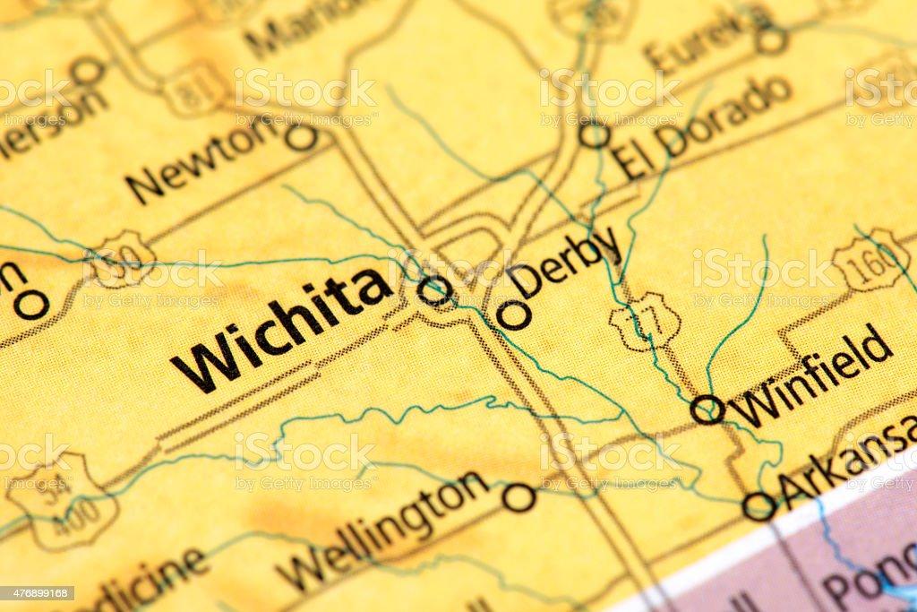 Map Of Wichita In Kansas State Usa Stock Photo - Download ... Gold Map Of Kansas on road map of kansas, antique map of kansas, large map of kansas, physical map of kansas, radon map of kansas, blank map of kansas,