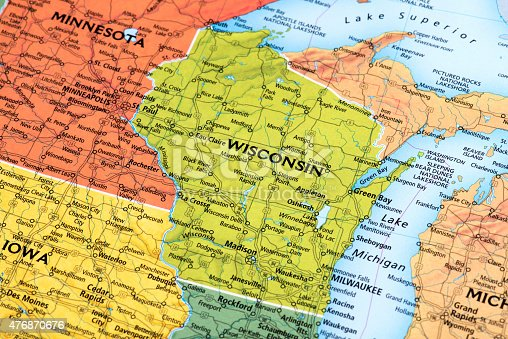 Map of Wisconsin State in USA. Detail from the World Map.