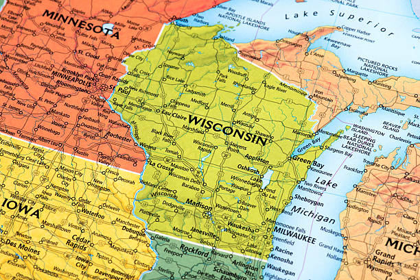 Map of Wisconsin State in USA Map of Wisconsin State in USA. Detail from the World Map. wisconsin stock pictures, royalty-free photos & images