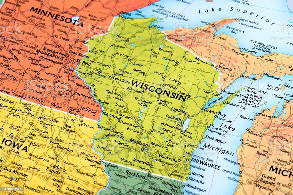 Map of Wisconsin State in USA stock photo