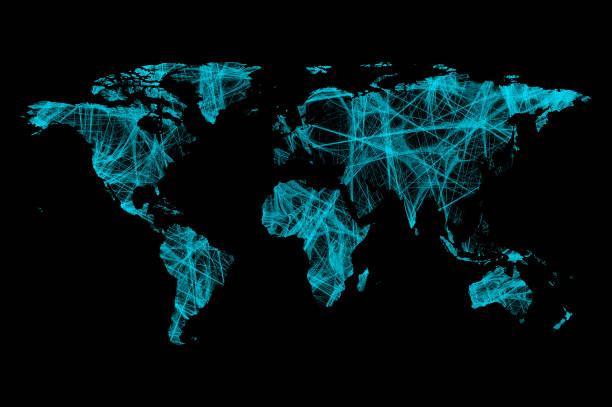 karte von welt von tech-verbindungen - flach stock-fotos und bilder