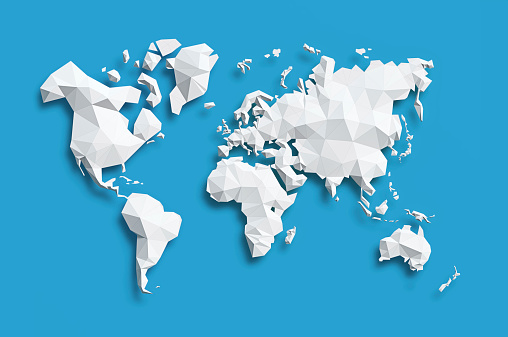 Low poly white Map of World on blue background.