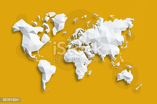 Low poly white Map of World on yellow background.