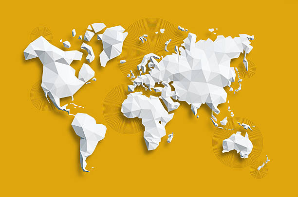 geometric world map stock photos