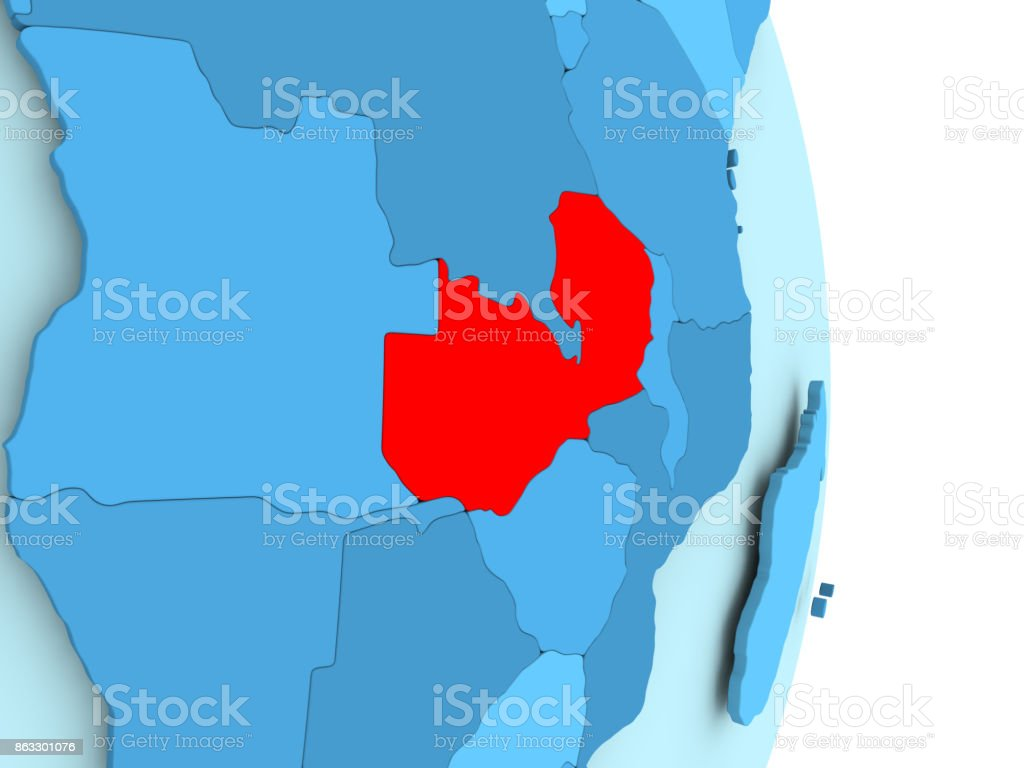 Map of Zambia in red stock photo